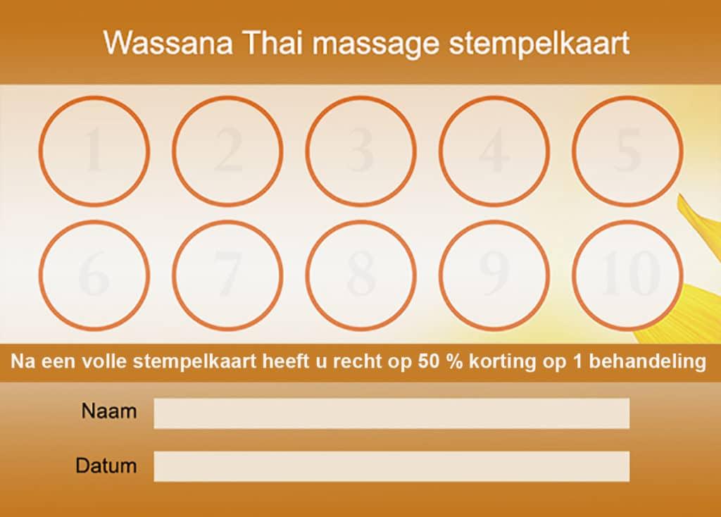 Thai Massage vaste klanten Stempelkaart
